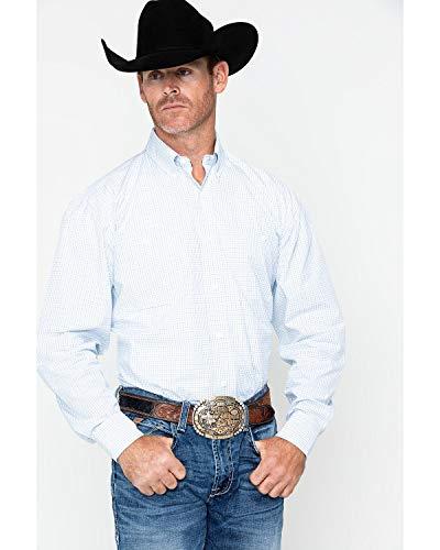 - Wrangler Men's George Strait by Plaid Long Sleeve Western Shirt Blue/White Medium