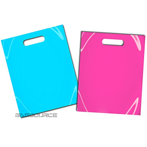 100 12x15 Glossy Pink and Teal Blue Plastic Merchandise Bags w/Handles by generic brand