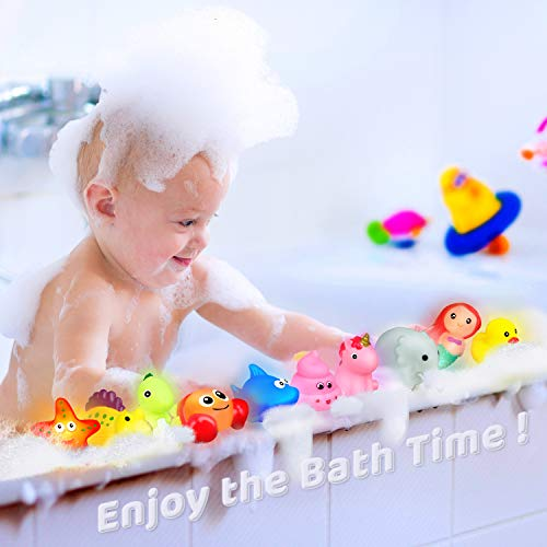 Light Up Bath Toys,10 Pcs Bathtub Water Toys,Floating Flashing Color Changing Light Sensory Toys,Rubber Duck Dinosaur Shark Animal for Kids Toddlers Baby Infants Preschool Games Swimming Party