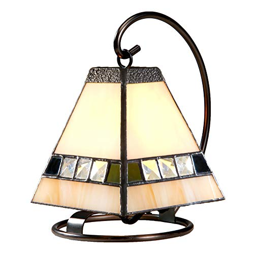 J Devlin Lam 640 Small Tiffany Stained Glass Lamp Ivory Opal