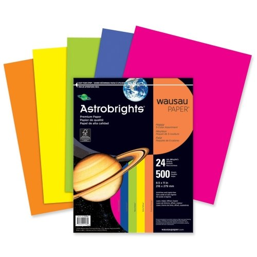 Wholesale CASE of 10 - Wausau Astrobrights Asstd 24lb Heavyweight Paper-Astro Paper, 24 Lb, 8-1/2''x11'', 500/RM, YW/OE/VT/GN/FU by Wau (Image #1)