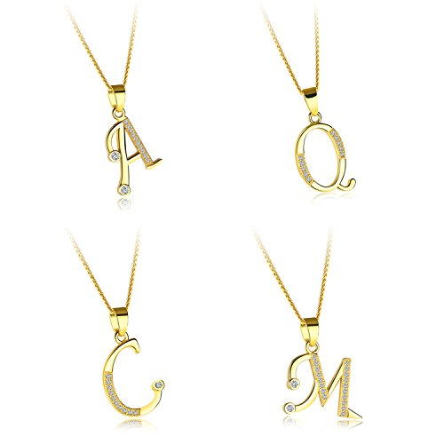 Fate Love Cubic Zirconia 18K Gold Plated Chain A-Z Initial Letter Pendant Necklace -