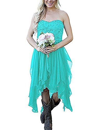 Liyuke Women's Strapless High Low Prom Homecoming Dresses Short Bridesmaid Dress Turquoise US 14 -