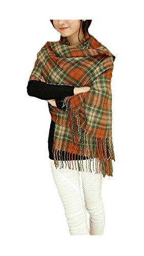 ARJOSA Women Knitted Plaid Oversized Long Scarf Shawl Wrap – #4 PLAID Orange Green