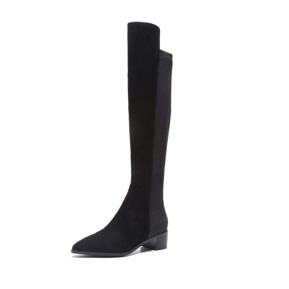 YaXuan Womens Shoes,2018 Fashion Leather Over Knee Boots Women Pointed Toe Elastic Stretch Thick Heel Knight Boots Winter Boots Color : Black, Size : 39