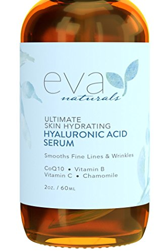 Eva Naturals Hyaluronic Acid Face Serum (2 oz, Double-Sized Bottle) - Anti-Aging, Moisturizing Wrinkle Serum with Vitamin C, B