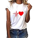 TWGONE Short Sleeve Shirts for Women Plus Size Loose Heart Print T-Shirt Casual O-Neck Top(X-Large,D)