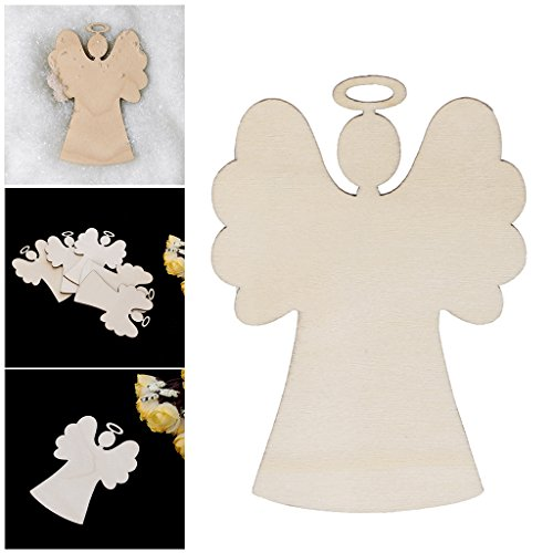 ONcemoRE Christmas Tree Ornaments Wooden Snowman Deer Hanging Decoration Crafts, 10Pcs (Angel Snowman)