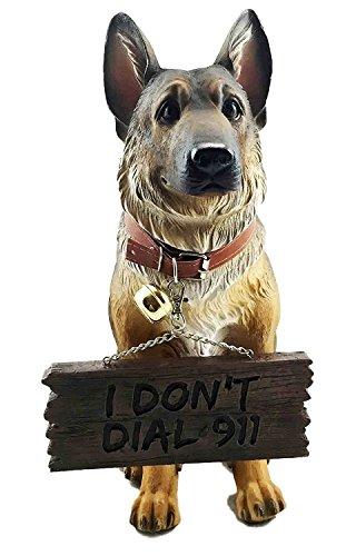 - Pedigree Canine Guard Dog Unit German Shepherd Figurine With Jingle Collar and Sign Patio Welcome Decor Sculpture