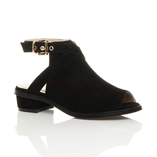 Womens ladies low mid block heel peep toe buckle ankle strap boots sandals shoes size Black Suede