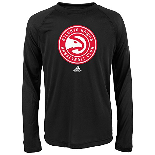 fan products of NBA Atlanta Hawks Boys Youth Full Primary Logo Performance Long Sleeve Tee, Small (8), Black