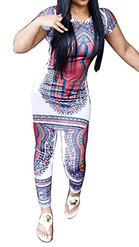 Ofenbuy Women's Fashion African Print 2 Pieces Outfit Crop Top Pants Suits (Medium, Picture color)