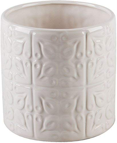(Home Essentials 6 Inches Depth White Embossed Tiles 6.00 Inches x 6.00 Inches x 6.00 Inches Utensil Crock Kitchen)