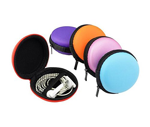 Macaroon Simple (6Pcs Round Portable Macaroon Carrying Hard EVA Case Earbuds Pocket Collection Box Earphone Headphone Cable Jewelry Storage Container Bag)