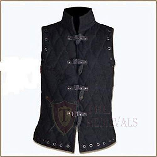 Medieval Thick Padded Sleeve-Less Coat Aketon Jacket Armor Black Cotton Fabrics DRESS SCA - 2X-Large