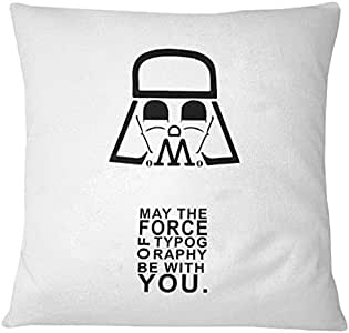 Home Design May the Force of Typography be with You Printed Cushion - White/Black, 40 x 40 cm