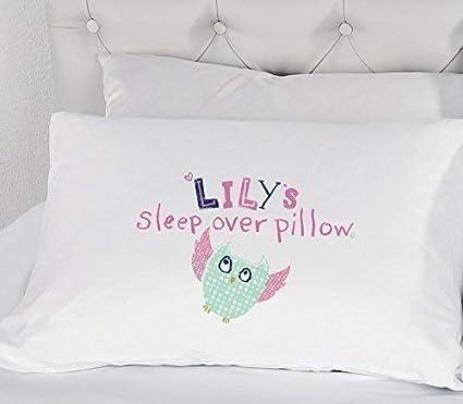 Funda De Almohada Personalizada Niña Búho Fiesta Pijamas Regalo Cama de Niños Regalo Ilustrado Dormir en