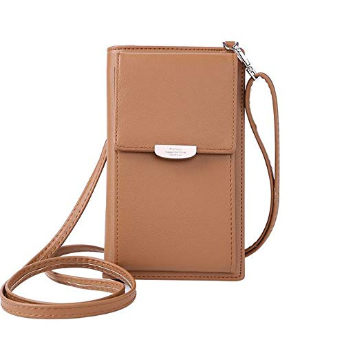 Kingto Small Leather Crossbody Cell Phone Shoulder Bag for Women, Smartphone Wallet Purse with Removable Shoulder Strip for Shopping (brown)