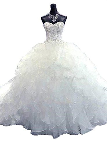 Lovelybride Noble Sweetheart Beaded Organza Wedding Dresses Bridal Gowns (16, White) ()