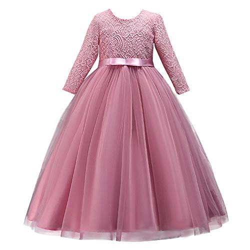 Girl Long Sleeve Vintage Lace Tutu Princess Pageant Cocktail Dresses Kids Prom Ball Gown Wedding Junior Bridesmaid 4-14 Years B Dusty Pink 9-10 Years