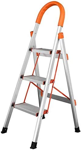 SISHUINIANHUA Antideslizante 3-Paso De Aluminio Escalera Plegable Plataforma Stool 330 Lbs Capacidad De Carga De Orange: Amazon.es: Hogar