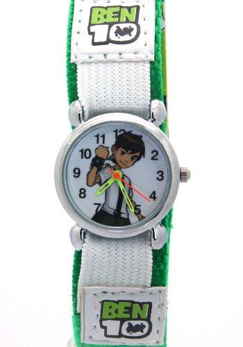 Ben 10 Cartoon Kids Green Strap Velcro Waterproof Stainless Steel Case Time Teacher Quartz Watches