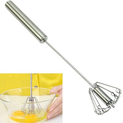 Mzwodmu Stainless Egg Beater Mixer Foamer Rotate Whisk Stirrer Hand Kitchen Baking Tool