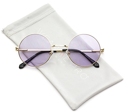 WearMe Pro - Colorful Tinted Retro Circle - Glasses Purple Tinted