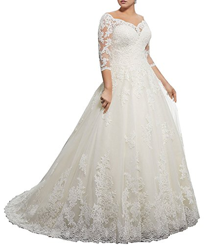 DMDRS Dreamdress Women's V-Neck Lace Sheer Plus Size Train Wedding Dresses (28, White) (Size 28 White Wedding Dress)