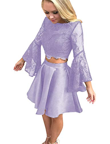 Two Pieces Lavender Women's Short Dress with Homecoming DYS Prom Sleeves Lace Dresses Rq5EEP