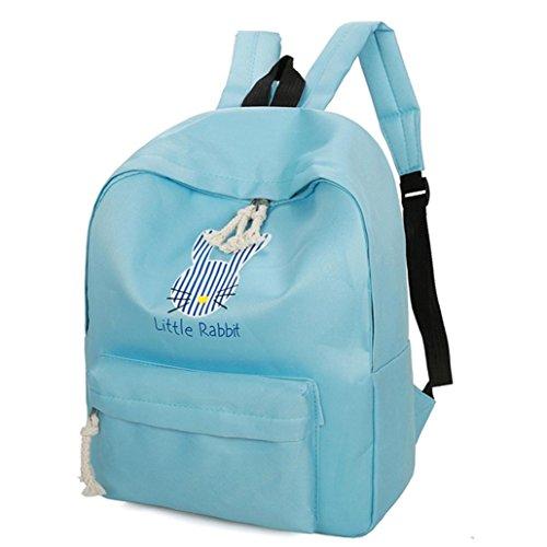 Bolso de Mochila Viaje Bolso de Escuela Estilo de Muy Buen Gusto Conejo de Historieta de Muchachas para Mujeres por ESAILQ Azul