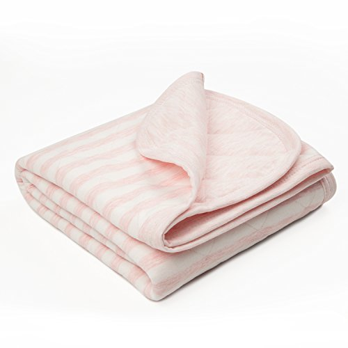 TILLYOU Allergy-Free Quilted Thermal Baby Blanket for Cribs - Thick Breathable Toddler Bedding Blanket for Boys, Girls - 100% Soft Jersey Cotton & Warm Microfiber Batting, Lt Pink Stripe, 39x39 (Quilted Jersey)