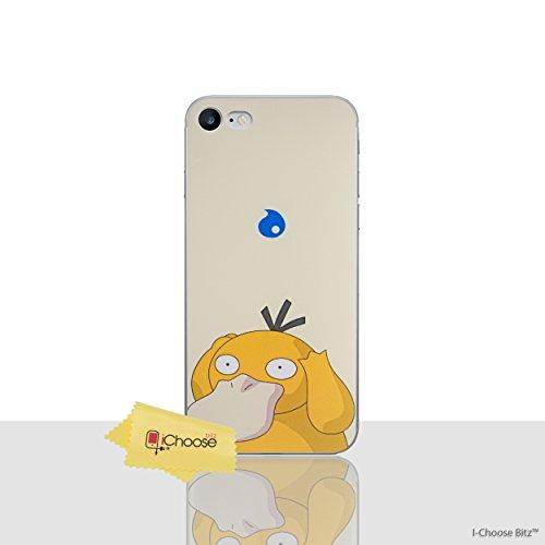 iPhone 7 Pokemon Caja de Silicona / Bulbasaur Cubierta de Gel para Apple iPhone 7 / Protector de Pantalla y Paño / iCHOOSE Psyduck