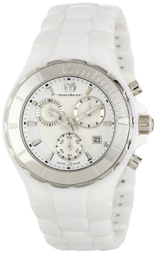 TechnoMarine Women's 110030C Cruise Ceramic Chronograph Silver-Tone Bezel White Watch