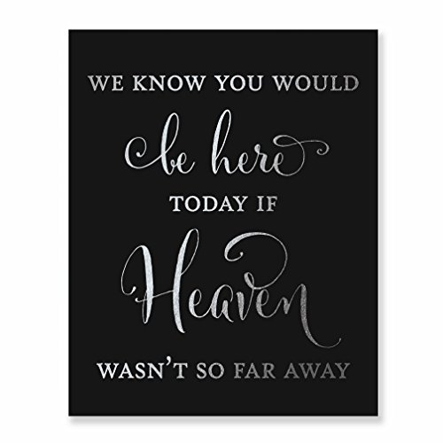 Wedding Memorial Silver Foil Art Print Black Poster Family Remembrance Sign Quote Metallic Decor 8 inches x 10 inches D30
