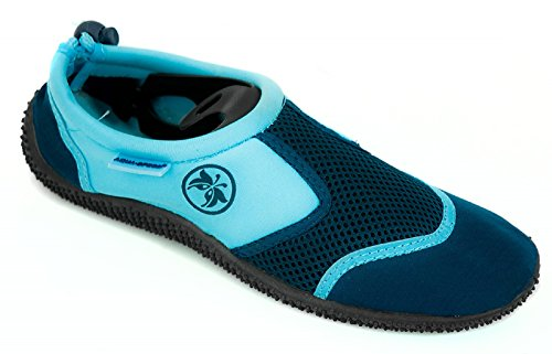 AQUA-SPEED® Aqua Shoe 14 Aquaschuhe + Ultrapower®-Schlüsselband | Größen 22-34 | Damen- und Herrenfarben | Profilsohle | Poolschuhe | Badeschuhe Blau