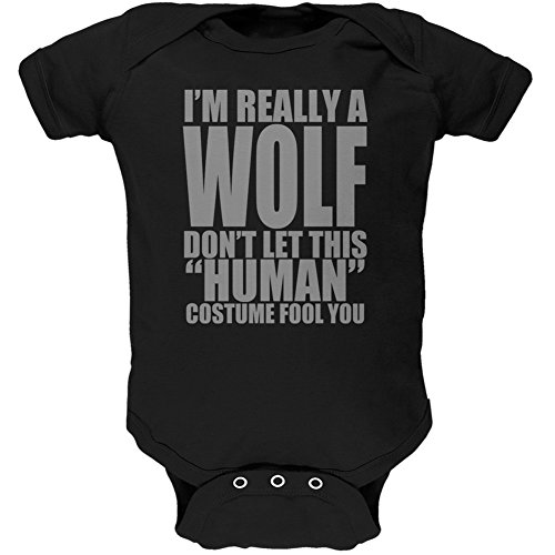 [Halloween Human Wolf Costume Black Soft Baby One Piece - 18 month] (Human Wolf Costume)