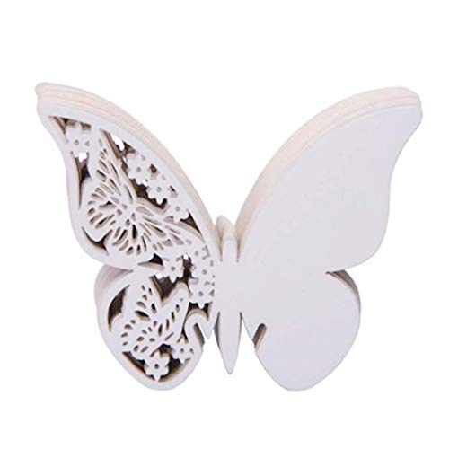 Binory 50pcs Paper Butterfly Place Seating Cards Wedding Supplies, 3D Hollow Paper Card Bulk for Wedding Party Favor   Table Number Name Signs   Wine Cup Card Decoration   Wall Decals Sticker(White)