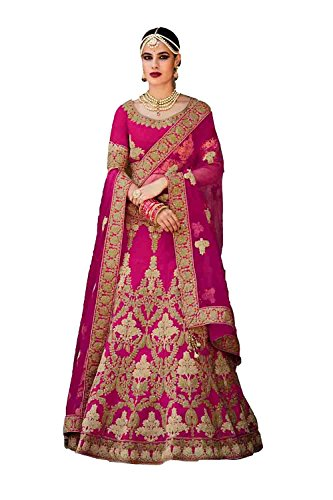 IWS Womens Silk Fabric Deep Pink Pretty Style With Embroidery Work Dupatta 79608