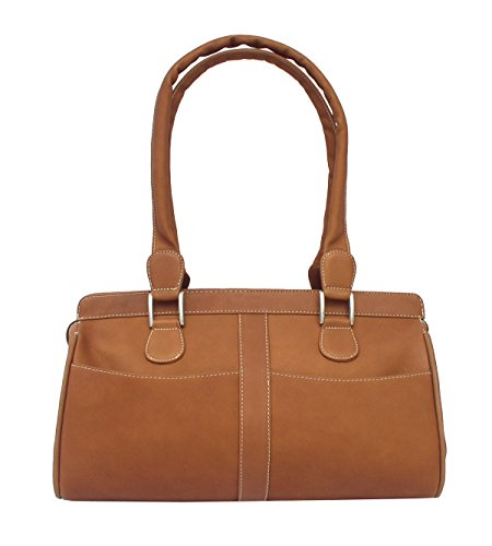 Piel Leather Double Handle Handbag in Saddle