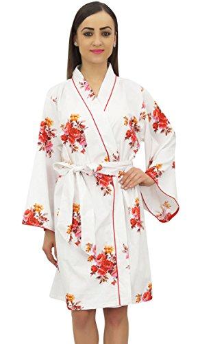 Nuit Up De Vetements Floral Blanc Imprime Robe Kimono Bimba Femmes Popeline Cover Coton Nuptiale BCxoQdEerW