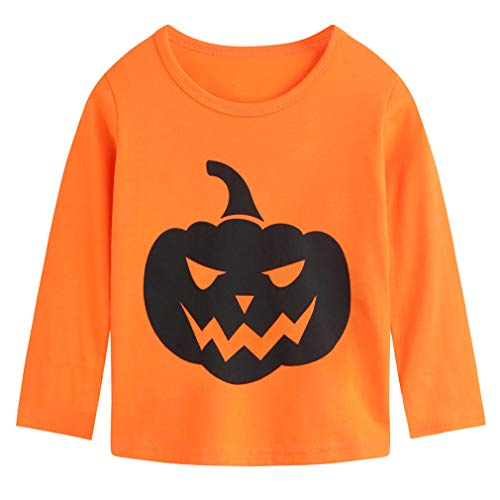 Csbks Kids Long Sleeve T-Shirt Boys Girls Tee Tops Evil Pumpkin Smiley Face A-Orange 4 Years