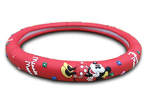 Finex Silicone Minnie Mouse Auto Car Steering Wheel Cover - Red - Universal Fit