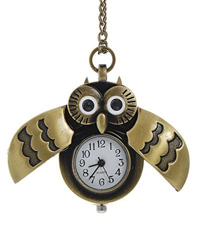 Souarts Antique Bronze Color Owl Shape Pocket Watch