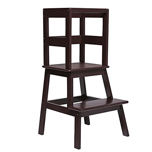 Learning Tower Step Stool (UNICOO- Kids Learning Stool, Kitchen Step Stool, Kids Step Stool, With Safety Rail-Wood Construction. Perfect for Toddlers or Any Little Helper)