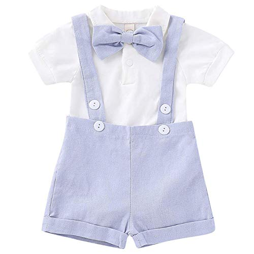 Baby Boy Clothes Gentleman Bowtie Romper and Overalls Suspenders Pants Wedding Tuxedo Outfits(Blue,12-18m)