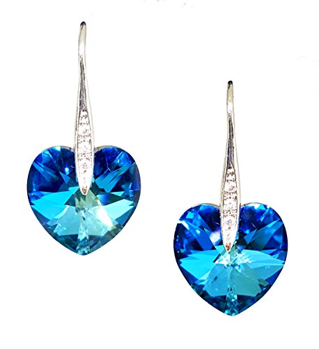 Artnouveau Elle Heart Pendant Drop Hook Earrings with Crystals from Swarovski (Bermuda Blue) (Blue Bermuda)