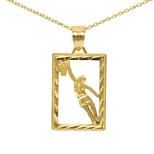 Player Charm 14kt Gold Jewelry (14k Yellow Gold Square Basketball Pendant (16