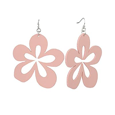 New Women's Faux Leather Flower Petal Dangle Pierced Earrings supplier