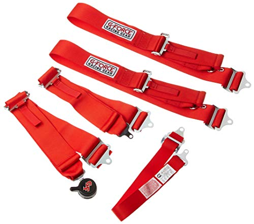 G-Force 7100RD Red 5-Point Pull-Up Camlock Individual Shoulder Harness Set